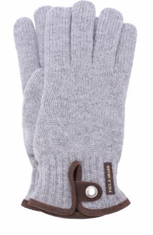 Шерстяные перчатки с замшевой отделкой Paul&Shark. Цвет: серый