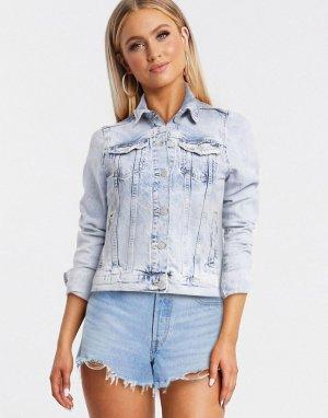 Выбеленная голубая джинсовая куртка -Синий New Look