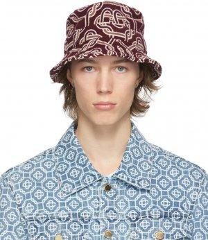 Burgundy Wool Monogram Bucket Hat Casablanca. Цвет: bordeaux
