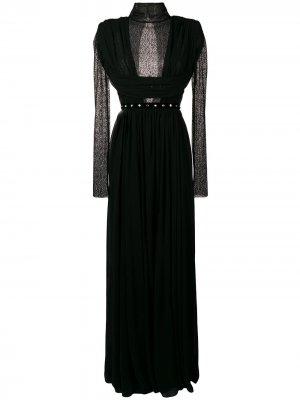 Вечернее платье с кружевной вставкой Philosophy Di Lorenzo Serafini. Цвет: черный
