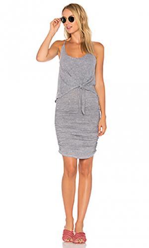 Платье с завязкой спереди Lanston. Цвет: серый