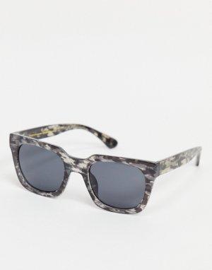 Серые солнцезащитные очки в стиле унисекс квадратной черепаховой оправе Nancy-Зеленый цвет A.Kjaerbede
