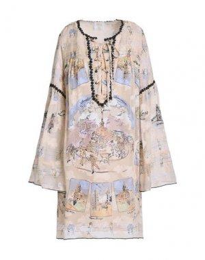 Короткое платье ANNA SUI. Цвет: бежевый