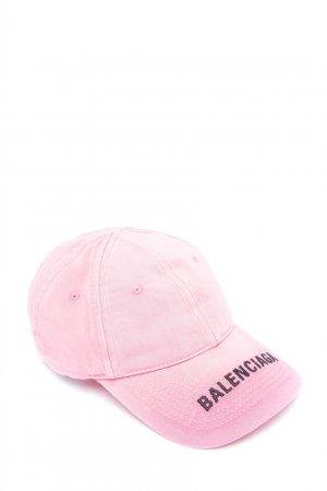 Розовая кепка из потертого хлопка Balenciaga. Цвет: фуксия