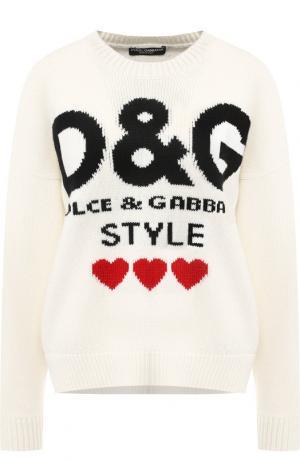 Кашемировый пуловер с вышитым принтом Dolce & Gabbana. Цвет: белый