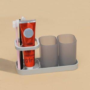 1шт держатель для зубной щетки и 2шт чашка полоскания SHEIN. Цвет: серый