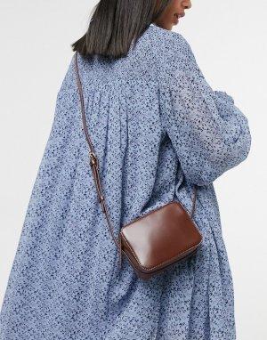 Шоколадно-коричневая кожаная сумка через плечо прямоугольной формы -Коричневый цвет ASOS DESIGN