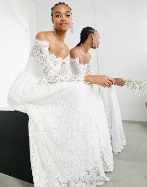 Кружевное свадебное платье с открытыми плечами и длинными рукавами Hazel-Белый ASOS EDITION