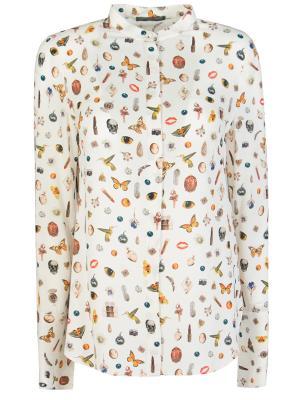 Блуза шелковая A.MCQUEEN. Цвет: белый