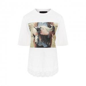 Хлопковая футболка Simone Rocha. Цвет: белый