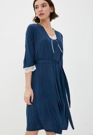 Халат и сорочка ночная Агапэ. Цвет: синий