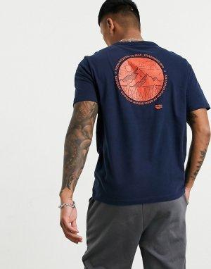 Синяя футболка с логотипом на спине -Синий Hi-Tec