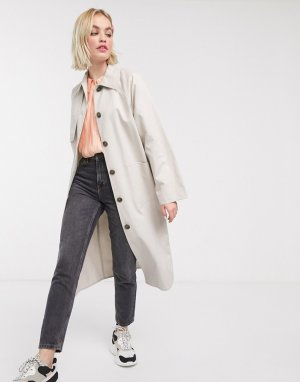 Бежевое пальто на пуговицах с карманами -Бежевый Monki