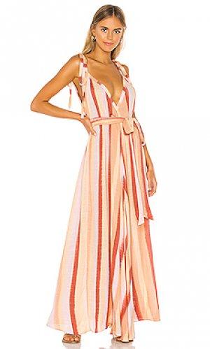 Макси платье vivan modern goddess Indah. Цвет: оранжевый