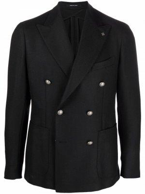 Двубортный шерстяной пиджак Tagliatore. Цвет: черный