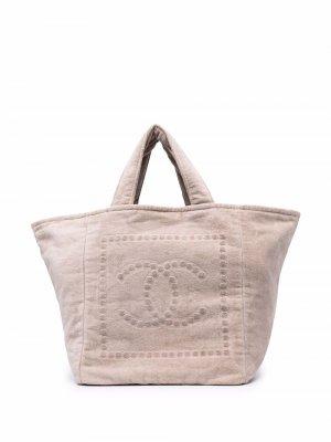 Пляжная сумка 2018-го года с логотипом CC Chanel Pre-Owned. Цвет: нейтральные цвета
