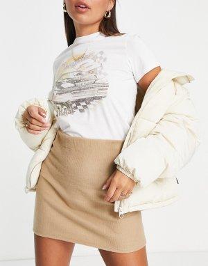 Бежевая пушистая мини-юбка от комплекта -Светло-бежевый цвет ASOS DESIGN