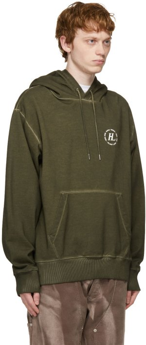 Khaki Garment-Dyed Hoodie Helmut Lang. Цвет: birch green - zsb