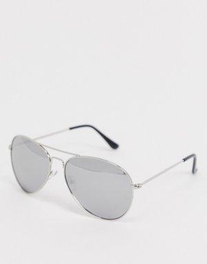 Солнцезащитные очки-авиаторы с зеркальными стеклами -Серебряный SVNX