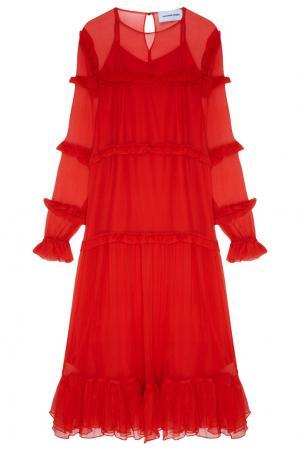 Красное платье-миди с рюшами Alexandr Rogov. Цвет: красный