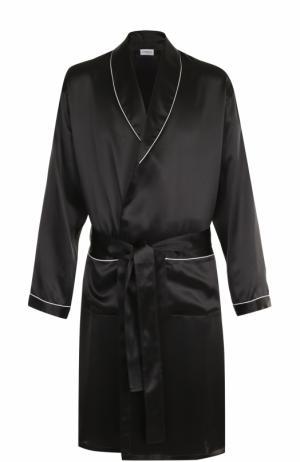 Шелковый халат Zimmerli. Цвет: чёрный