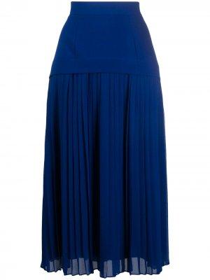 Плиссированная юбка миди с заниженной таалией Paul Smith. Цвет: синий