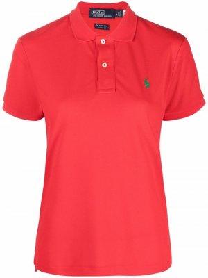 Рубашка поло с вышивкой Polo Ralph Lauren. Цвет: красный