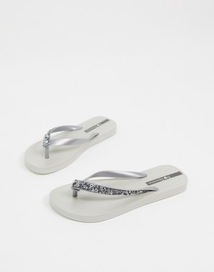 Серебристые гламурные шлепанцы -Серебристый Ipanema