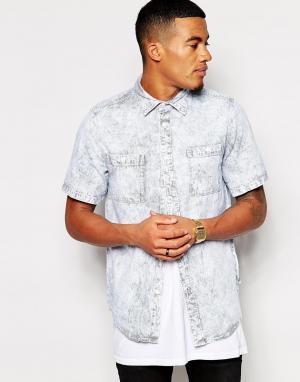 Рубашка с короткими рукавами и эффектом кислотной стирки Altamont. Цвет: синий