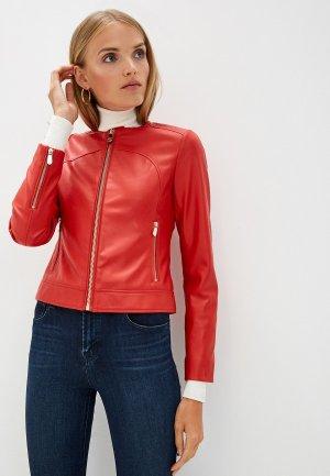 Куртка кожаная Trussardi Jeans. Цвет: красный