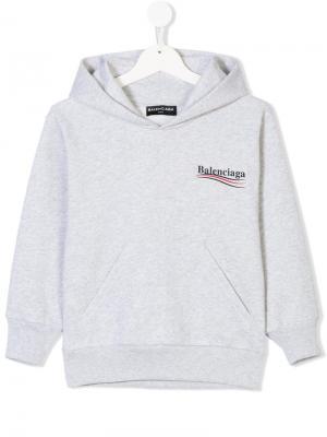 Худи с принтом логотипа Balenciaga Kids. Цвет: серый