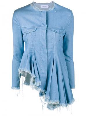 Асимметричная джинсовая куртка с необработанными краями Marquesalmeida Marques'almeida. Цвет: синий