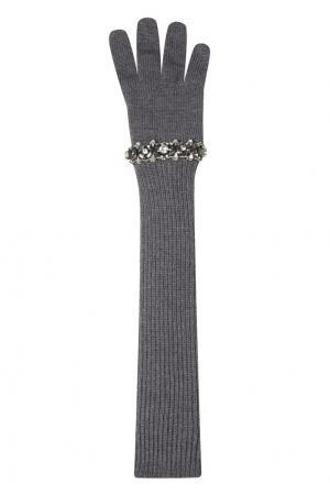 Серые вязаные перчатки с кристаллами No.21. Цвет: серый