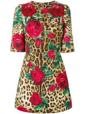 Платье с леопардовым и цветочным принтом Dolce & Gabbana