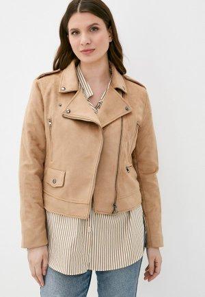 Куртка кожаная Colins Colin's. Цвет: бежевый