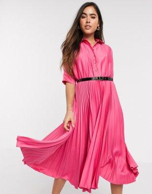 Платье-рубашка миди цвета фуксии с короткими рукавами и плиссированной юбкой -Розовый Closet London