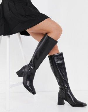 Черные кожаные сапоги на расклешенном каблуке Hedda-Черный Vagabond