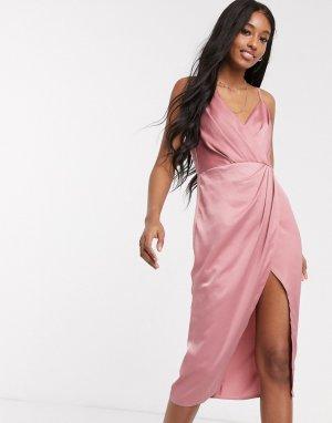 Розовое платье с запахом -Бежевый Little Mistress