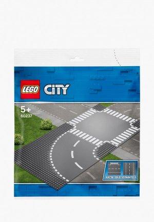 Элементы LEGO City 60237 Поворот и перекрёсток. Цвет: серый