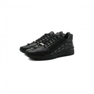Кожаные кроссовки Dsquared2. Цвет: чёрный