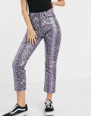 Прямые брюки из полиуретана со змеиным принтом -Фиолетовый Daisy Street