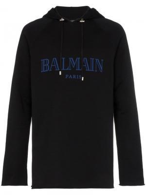 Худи с логотипом Balmain. Цвет: черный
