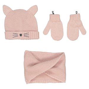 Комплект шапка варежки и шарф La Redoute. Цвет: розовый