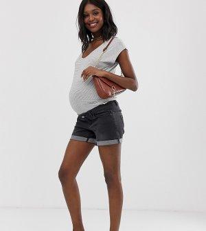 Шорты с отворотами и съемной вставкой для живота Maternity-Черный Bandia