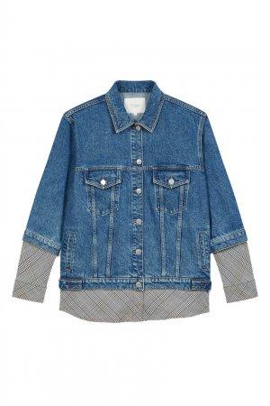 Джинсовая куртка комбинированного дизайна Maje. Цвет: синий
