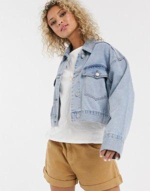Джинсовая куртка с выбеленным эффектом -Синий Urban Bliss