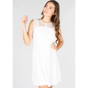 Платье однотонное прямого покроя без рукавов, длина миди, 3/4 DERHY. Цвет: экрю
