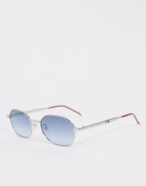 Квадратные солнцезащитные очки в серебристо-красной оправе -Серебряный Tommy Hilfiger