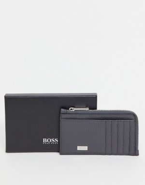 Серый бумажник на молнии с логотипом BOSS by Hugo