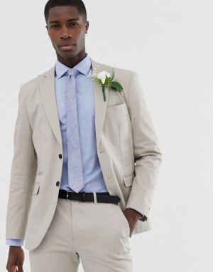Облегающий хлопковый пиджак Premium slim wedding suit jacket in brushed cotto-Бежевый Jack & Jones